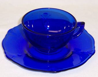 Paden City Glass Cobalt Blue CROW'S FOOT Cup and Round Saucer
