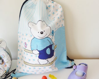 Blanket pattern bear washable fabric bag machine 40 x 28 cm