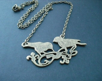 Sale - Antique Brass Lovely Birds Necklace