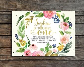 First Birthday Invitation Girls Floral First Birthday Invites Garden Party  Watercolor Gold Foil 1st Birthday Invitation