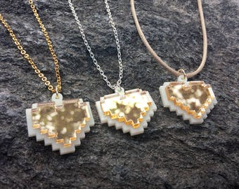 8-Bit Gold Heart Necklace