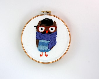 Hipster Owl Hoop Art - Hand Embroidered Owl Wall Hanging - Handlebar Mustache - Henry McHooterson