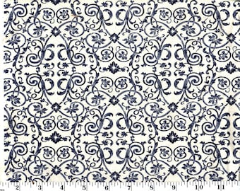 1 Yards, Navy Damask Scroll on Cream