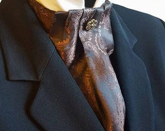Brown Bronze Paisley Silky Cravat Neck Jabot Victorian Steampunk Wedding Races Ascot Metal Button Ready To Wear pk63