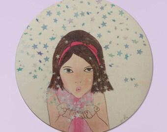 Girl Wall Art, ,Girl Painting, Girl Nursery Art, Kids Room Decor, Baby girl gift, Art wood Print on Wood, baby shower Girl Stars Room Decor