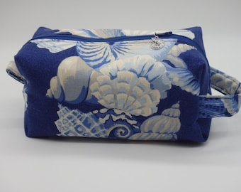 Seashells Travel Bag, Ditty Bag, Coastal Dopp Kit, Toiletry Bag, Pencil Case, Wet Sack, Cosmetics Pouch, Gifts for Friends