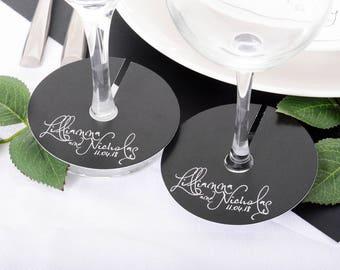 Wedding Wine Glass Tags - Champagne Glass Tag - Calligraphy Wineglass Tags - Personalized Wine Stem Tag - Wine Glass Stem Circles - wdiM-273