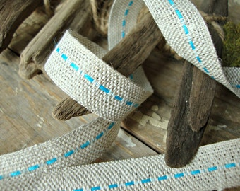 Natural Jute Turquoise Center Stitch Ribbon