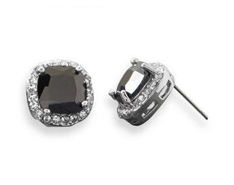 Soft Square Black CZ Fashion Post Stud Earrings