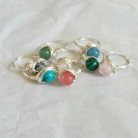 Wire Wrapped Reiki Attuned Gemstone Rings