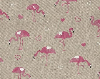 TROPICAL fabric Flamingo couture off white