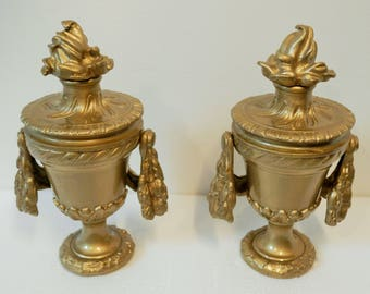 Antique French Staircase Finials. Pair of Vintage Ormolu Newel Post Finials. 1800's. Chateau Decor. Home Decor. RARE. Architectural Savage.