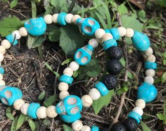 Turquoise stone and Lava stone skull bracelet
