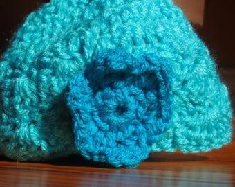 newborn shell hat with flower
