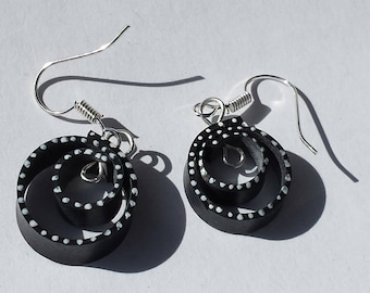 Earrings recycled bicycle inner spiral black and white