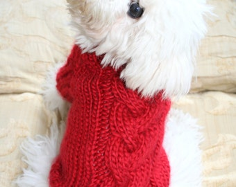 Red Dog Sweater, Puppy Sweater, Pet Clothing, Hand Knit Dog Clothes, Cable Dog Sweater, Pets by BubaDog
