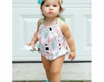 Boho Romper Sunsuit - Bohemian gold feather outfit - Baby Clothes - Newborn Photography - Baby Girl - Handmade