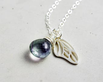 Fluorite Necklace, Butterfly Garden Necklace, Butterfly Wing Charm, Sterling Silver Necklace