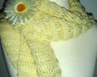 Yellow shawl with floral brooch - ready to ship