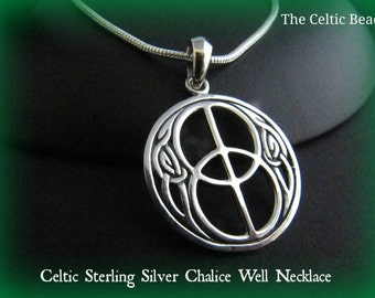 Celtic Sterling Silver Chalice Well Symbol Necklace