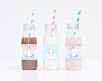 Rainbow Unicorn Birthday Bottle Wrappers // iNSTANT DOWNLOAD // Rainbow Unicorn Birthday Decor // Digital Printable DIY