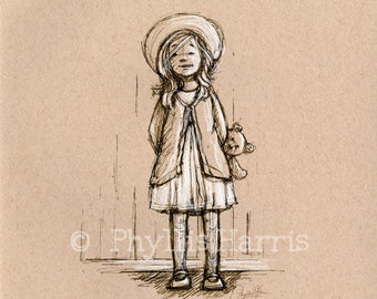 Sketch on toned paper- wall art print - Vintage style little girl with teddy bear from days gone by