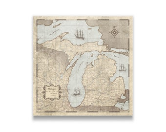 Map pin board etsy michigan travel push pin state map rustic vintage cork pin board canvas rustic vintage style gumiabroncs Choice Image