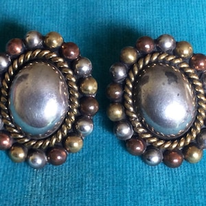 Vintage TAXCO Mexican Post Mixed Metal Concho  925 Sterling Silver, Copper and Brass Laton marked Earrings