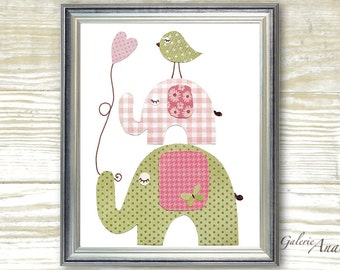Elephant nursery Children art Nursery art prints - baby nursery decor - nursery art - kids art print - Sweetness print