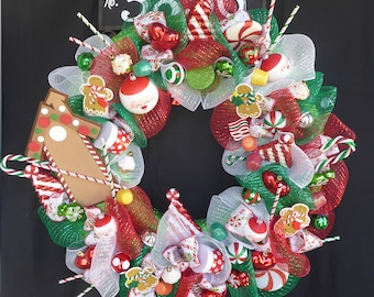 Christmas Wreath, Visions of Sugarplums, Christmas Decor, Xmas Decor, Season Decor, Unique Gifts, Gifts for Her, Gingerbread, Candy Wreath