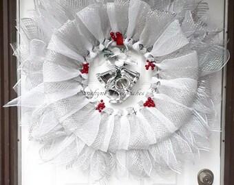 Christmas Winter Wreath (Handmade)- Wedding Wreath - Deco mesh Christmas Wreath- Deco Wreath- Silver Wreath - Ready to Ship