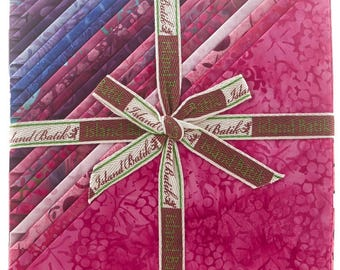 "Cherry Berry stack by Island Batik, 10 inch fabric squares, Cherry Berry batik layer cake, precut 10"" fabric squares, purple batik"