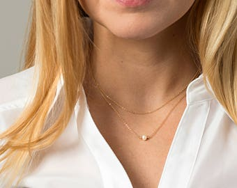 Double Layer Pearl Necklace - Tiny Pearl on dainty chain - Layered Gold Necklace - Double wrap necklace