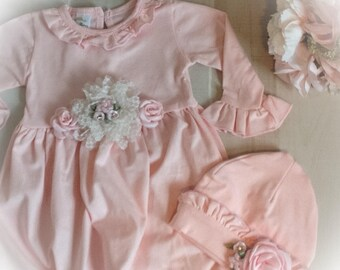 Newborn Girl Take Home Outfit, Pink Layette Gown Cap, Newborn Gown, Coming Home Oufit