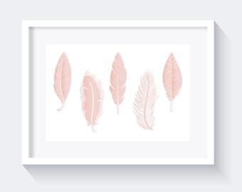 Light Pink Feathers Print, Nursery Print, Pink Print, Feathers Print, pastel pink print, nursery wall art, baby girl room