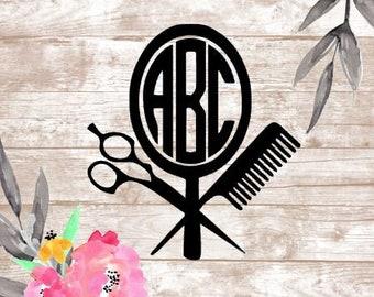 Custom Hair Stylist Hair Dresser Beautician Cosmetologist Monogram Vinyl Decal Car Yeti Tumbler Laptop Sticker