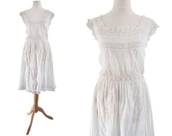 Edwardian White Cotton and Lace Camisole Dress