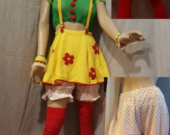 Clown costume Clown mini skirt Clown cap yellow clown costume Size small  Halloween costume Carnival Festival Teen 12 to 16 Birthday party