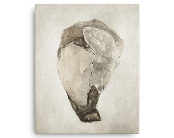 Original Mixed Media Print - Modern and Abstract - Soothing, Neutral tones - One by Joy