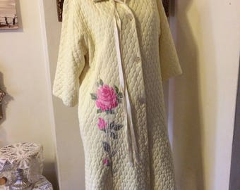 Vintage 60s Yellow Quilted  Pink Rose Mad Men Ladies Eveyln Pearson Robe Size Small Medium Gifts for Her