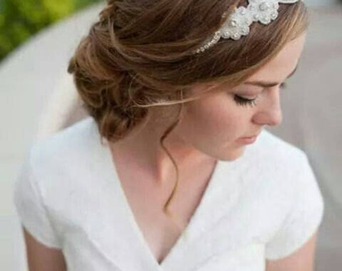 Bridal Rhinestone Headband- Beads and Rhinestones Floral Leaf Design