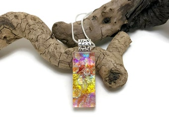 Dichroic glass jewelry, Dichroic Glass Pendant, glass pendant, Fused Glass Jewelry, Fused glass pendant, glass Necklace, Dichroic Glass