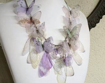 Pastel Special - Handmade Necklace with Silk Organza Ivory, White, Pink, Lilac and Green Butterflies, Moths and Wings - One of a Kind