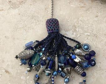 Light Fan Ball Chain Pull - Beaded Tassel - Blue North Dragon