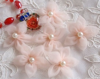 6 Handmade Flowers With Pearl (2 inches) in Lt Pink  MY-231-01 Ready To Ship