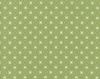 Nest Fabric by Lella Boutiquee for Moda, #5065-13, Leaf Green with X - IN STOCK