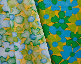 Vintage flower fabric - green, yellow blue flowers on a mustard yellow ground