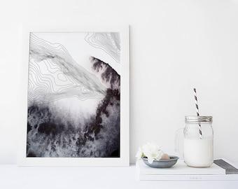 Abstract wall art, watercolor art print, modern poster, topography print, wall hanging, home wall decor, apartment wall art, poster, gift