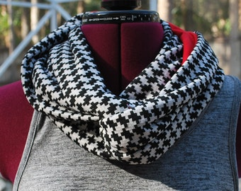 University of Alabama Crimson Tide Game Day Infinity Circle Scarf Red Black White Houndstooth