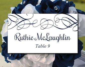 "DIY Wedding Place Card Template Printable Escort Card Template ""Whimsical Swirls"" Dark Navy Wedding Table Card Wedding Reception Seating"